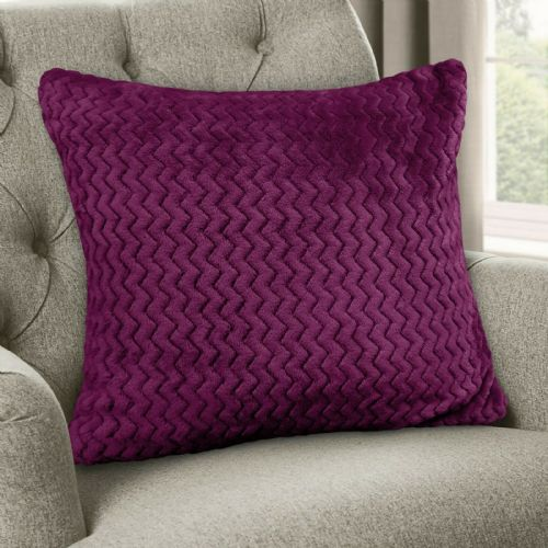 Large Luxury Chevron Zig Zag Super Soft Velvet Plush Scatter Cushion Plain Aubergine 56cm x 56cm